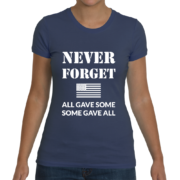 Never Forget Women's T-Shirt (All Gave Some, Some Gave All) – Indigo Blue