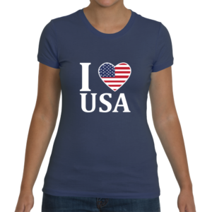 I Heart USA Women's T-Shirt - Indigo Blue