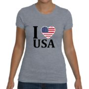I Heart USA Women's T-Shirt – Heather Grey
