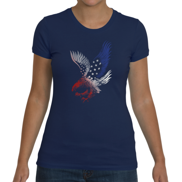 Red White and Blue Eagle Women's T-Shirt - Midnight Blue